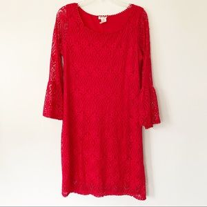 Brittany Black Crochet Mini Dress Red Size Medium